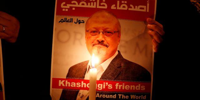 Minnesplats för Jamal Khashoggi.  Osman Orsal / TT NYHETSBYRÅN