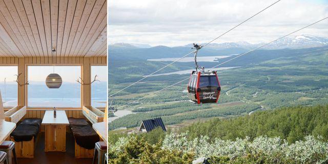 Den nya gondolen i Hemavan hade premiär 6 juli och tar dig upp till Björks Topprestaurang & Fjällbar, som har milsvid utsikt över skog, berg och sjöar. Pressbild