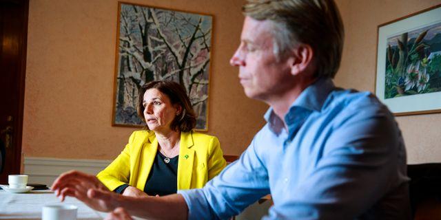MP-språkrören Isabella Lövin och Per Bolund. Emma-Sofia Olsson/SvD/TT / TT NYHETSBYRÅN