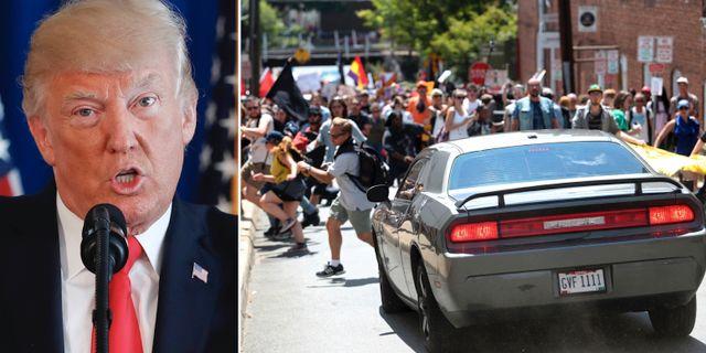 Donald Trump och bilattacken i Charlottesville. TT