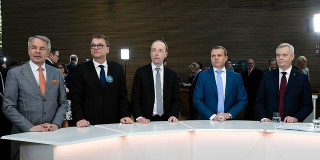 Från vänster: Pekka Haavisto, Juha Sipilä, Jussi Halla-aho, Petteri Orpo och Antti Rinne. Markku Ulander / TT NYHETSBYRÅN/ NTB Scanpix