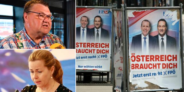 Peter Lundgren (SD), Cecilia Wikström (L), FPÖ-affischer i Österrike.  TT