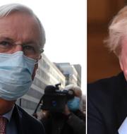 Michel Barnier och Boris Jhnson. TT