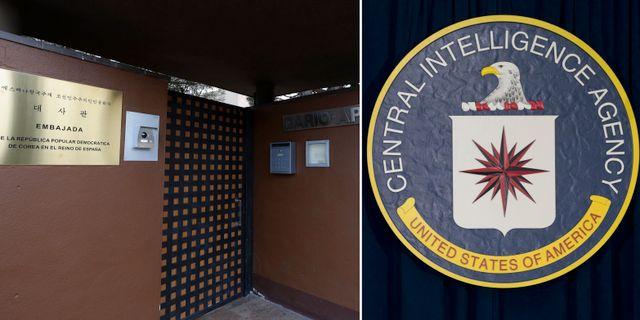 Nordkoreas ambassad i Madrid / CIA:s högkvarter i Langley, USA.  TT