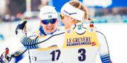 Ida Ingermarsdotter och Stina Nilsson efter sprintfinalen i Toblach den 29 december. Pedersen, Terje / TT NYHETSBYRÅN