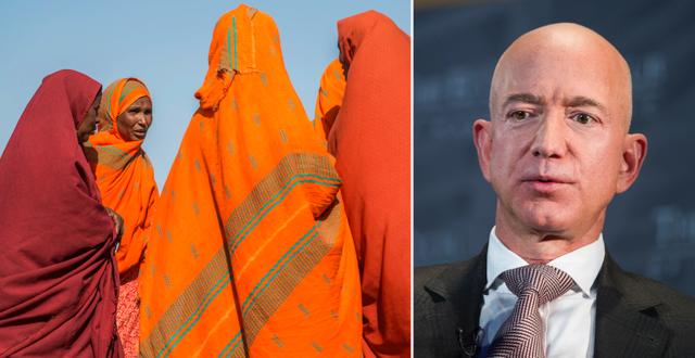 Etiopiska kvinnor/världens rikaste man Jeff Bezos. Enligt rapporten motsvarar en procent av Bezos totala förmögenhet hela Etiopiens hälsobudget. TT