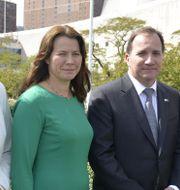 Isabella Lövin (MP), Åsa Romson (MP), Stefan Löfven (S) och Margot Wallström (S). Tina Magnergård-Bjers/TT / TT NYHETSBYRÅN