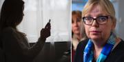 Kvinna med mobiltelefon/Eva-Marie Persson. TT