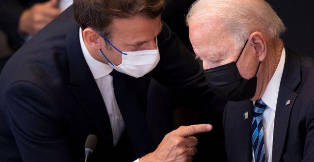 Macron och Biden. Arkivbild. Brendan Smialowski / TT NYHETSBYRÅN
