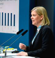 Finansminister Magdalena Andersson (S) presenterar vårbudgeten vid en digital pressträff i Rosenbad Fredrik Sandberg/TT / TT NYHETSBYRÅN