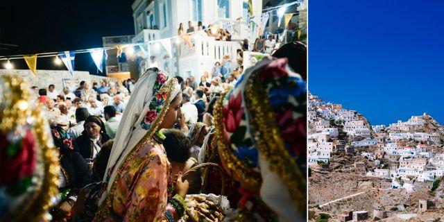 Karpathos traditionella festival (vänster) går av stapeln 15 augusti varje år. Till höger bergsbyn Olympos på samma ö. Spiros Vathis/Wikicommons