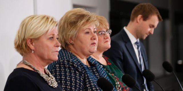Partiledarna i det nya regeringssamarbetet. Bendiksby, Terje / TT NYHETSBYRÅN