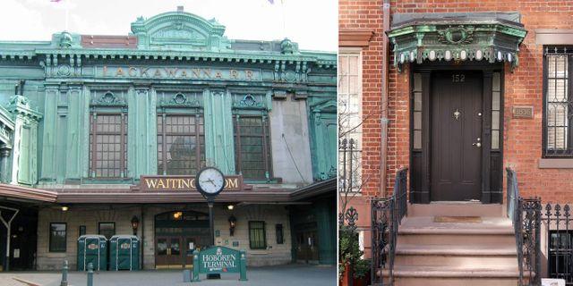 Hobokenterminalen och dörrarna i Greenwich Village har samma signaturgröna nyans. Wally Gobetz/Spencer Means