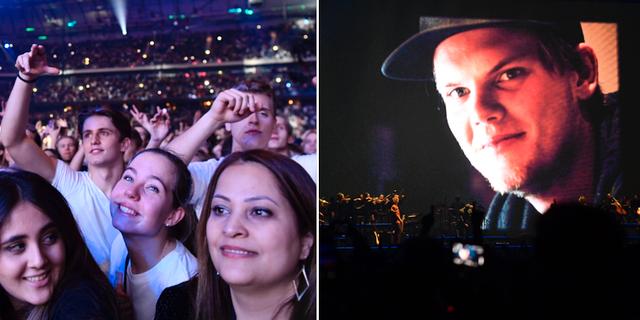 Publikhavet under minneskonserten/Bild på Avicii projicerad under konserten. TT