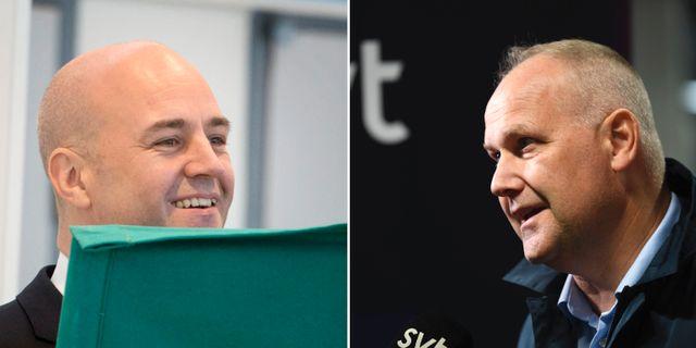 Fredrik Reinfeldt och Jonas Sjöstedt. TT