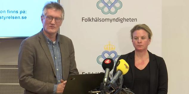 Anders Tegnell och Johanna Sandwall. Skärmdump.