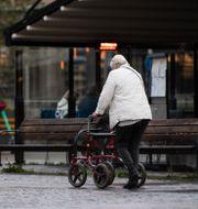 Äldre kvinna med rollator. Amir Nabizadeh/TT / TT NYHETSBYRÅN