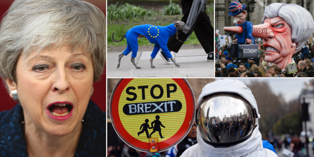 Theresa May/demonstrationer mot brexit. TT
