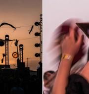 Scen och dansande besökare på festivalen Dunes Electronique i Tunisien. TT
