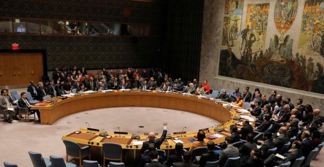FN:s säkerhetsråd med fem permanenta medlemmar, samtliga kärnvapenmakter.  LUCAS JACKSON / TT NYHETSBYRÅN