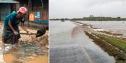 Omgivningarna runt staden Pemba ligger under vatten.  TT