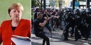 Angela Merkel/arkivbild från demonstration i Berlin. TT