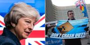 Storbritanniens premiärminister Theresa May / En demonstrant utanför EU-kommissionen.  TT