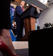 Donald Trump vid en presskonferens.  Alex Brandon / TT NYHETSBYRÅN