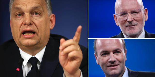 Viktor Orbán, Manfred Weber och Frans Timmermans. TT