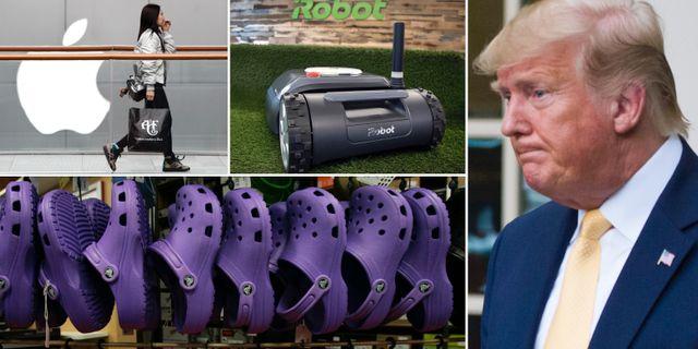 Arkivbilder: Kvinna går förbi Applesymbol i Kina, gräsklippare från Irobot, skor från Crocs och Donald Trump. TT