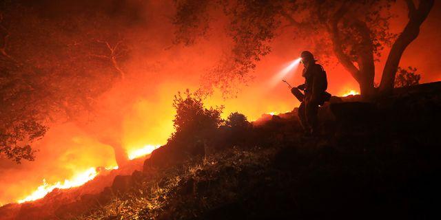 En brandman övervakar elden vid Sonomadalen i Kalifornien. Kent Porter / TT NYHETSBYRÅN