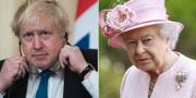 Boris Johnson, drottning Elizabeth.  TT
