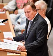 Stefan Löfven läser upp regeringsförklaringen. Anders Wiklund/TT / TT NYHETSBYRÅN
