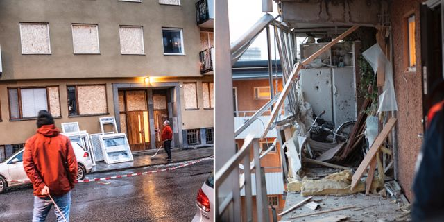 Brottsplatsen på Östermalm i Stockholm t.v. Husby t.h.  TT