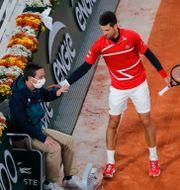 Djokovic och linjedomaren Christophe Ena / TT NYHETSBYRÅN