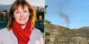Monica Nielsen, kommunstyrelsens ordförande i norska Alta/bild från olycksplatsen. Arbeiderpartiet/TT.