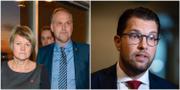 V-ledarna Jonas Sjöstedt och Ulla Andersson anmärker på Jimmie Åkesson och SD:s ekonomiska politik. JANERIK HENRIKSSON / Jessica Gow / TT / TT NYHETSBYRÅN