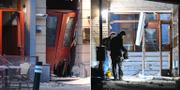 Till vänster: skadorna på entrén till nattklubben vid Stortorget. Till höger: Entrén till flerfamiljshuset i Malmö  TT