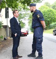 Ulf Kristersson träffar polisen i Stockholm. Arkivbild. Fredrik Sandberg/TT / TT NYHETSBYRÅN