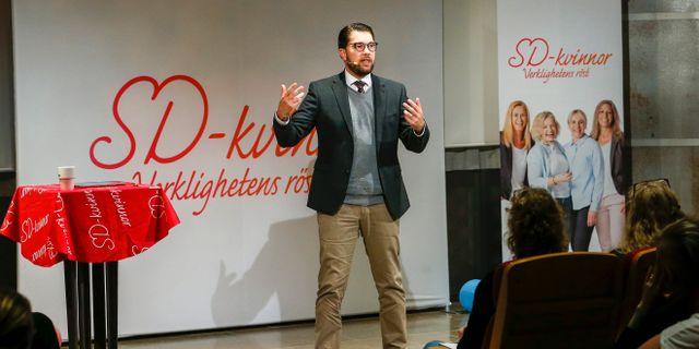 SD-ledaren Jimmie Åkesson talade vid SD-kvinnors höstkonvent.  Magnus Andersson/TT / TT NYHETSBYRÅN