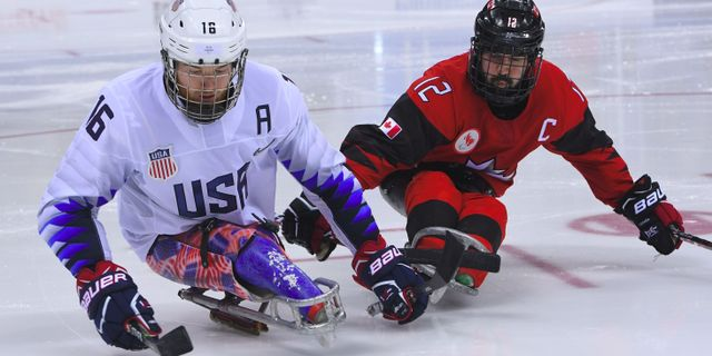 USA:s Declan Farmer och Kanadas Greg Westlake i finalen.  JUNG YEON-JE / AFP