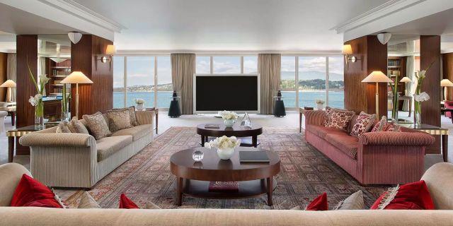 The Royal Penthouse Suite på Hotel President Wilson i Genève är världens dyraste hotellrum. Hotel President Wilson