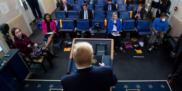 Donald Trump under en pressträff i tisdags. Alex Brandon / TT NYHETSBYRÅN