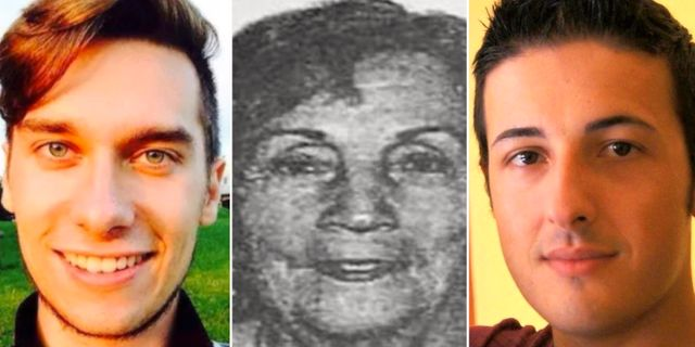 Tre av offren för terrordådet i Barcelona: Luca Russo, Carmen Lopardo och Bruno Culotta.