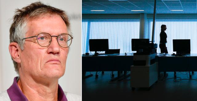 Anders Tegnell/Ett halvtomt kontor. TT