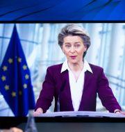 Ursula von der Leyen under dagens virtuella tal i Davos. Salvatore Di Nolfi / TT NYHETSBYRÅN