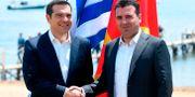 Alexis Tsipras och Zoran Zaev.  MAJA ZLATEVSKA / AFP