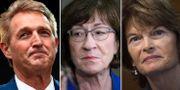 Jeff Flake, Susan Collins och den tredje osäkra republikanen, Lisa Murkowski. TT
