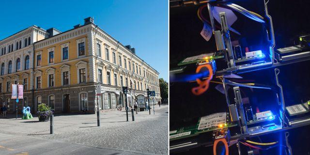 Illustrationsbilder: Stadshuset i Gävle, elektronik vid Facebooks datacenter i Luleå. TT