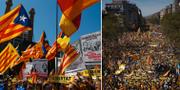 Demonstrationerna i Barcelona under söndagen.  TT